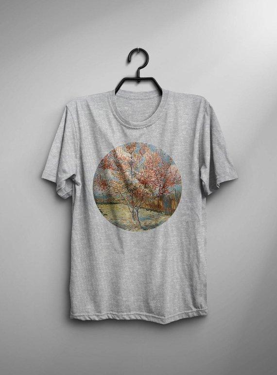 Van Gogh Shirt Flowering Peach Trees T Shirt Fashion Van Gogh T-Shirt Man Tee Art Painting T-Shirt Birthday Gift For Him Men Van Gogh Tshirt
