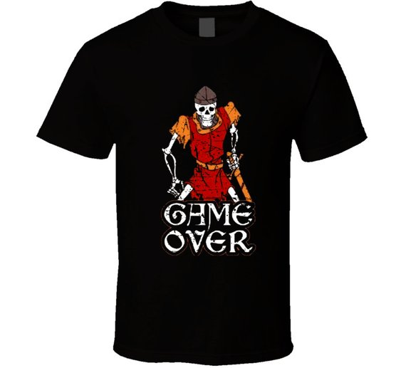 Cool Retro Arcade Game Dragon's Lair Game Over Distressed T Shirt