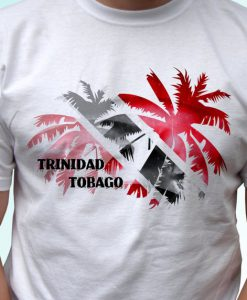 Trinidad and Tobago Palm flag white t shirt top short sleeves - Mens, Womens, Kids, Baby - All Sizes!