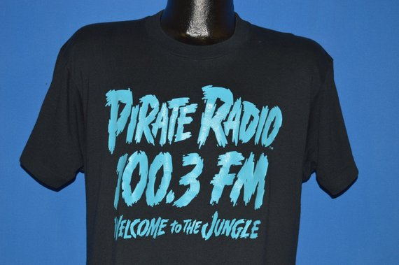 80s Pirate Radio 100.3 FM Welcome To the Jungle t-shirt Large