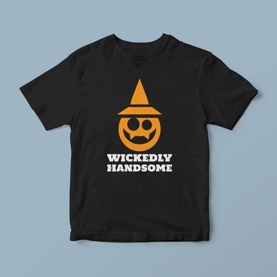 Wickedly handsome pumpkin faces tshirt, funny witch outfit, new dad gift, fall shirt men, funny halloween tee, halloween sweatshirt