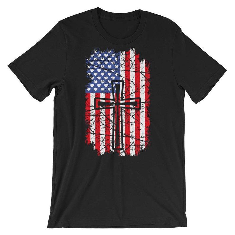 Cool USA American Flag Christian Cross T Shirt