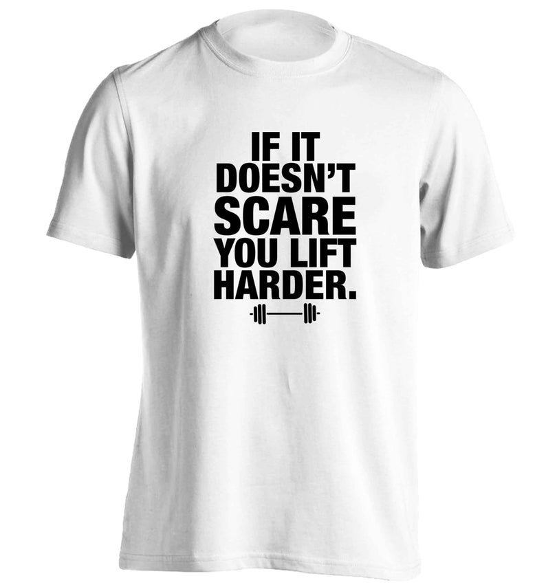 If it doesn't scare you lift harder, t-shirt gym weights body builder weight lifting inspirational saying personal trainer hipster gift 5853