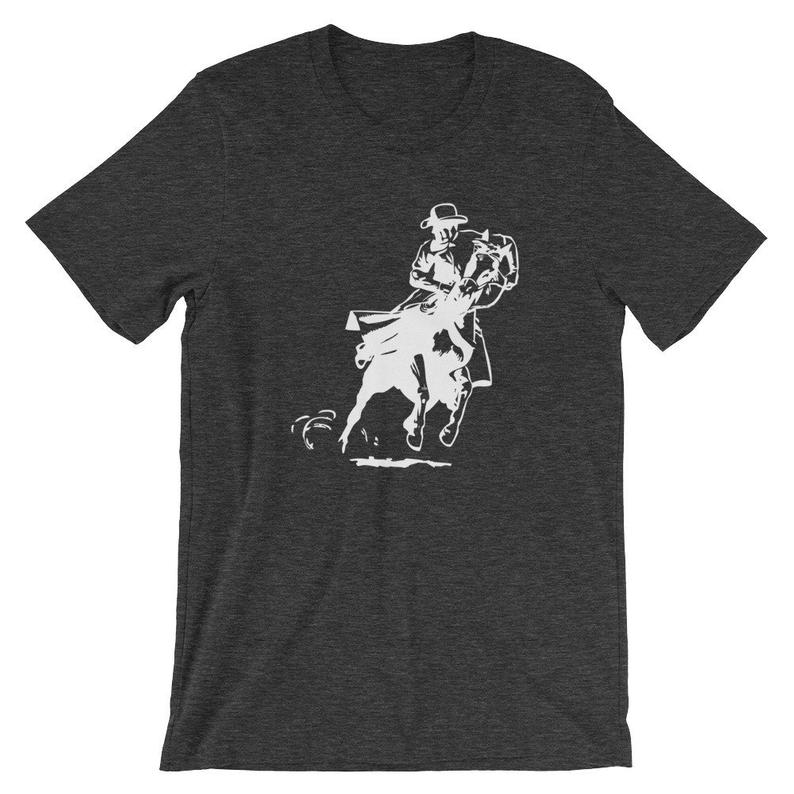 Rodeo Cowboy Horse Back Horseback Riding Western T Shirt Tshirt Graphic Tee Short-Sleeve Unisex T-Shirt