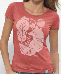 WHITE WOLF T-Shirt Girls (Mid Heather Red)